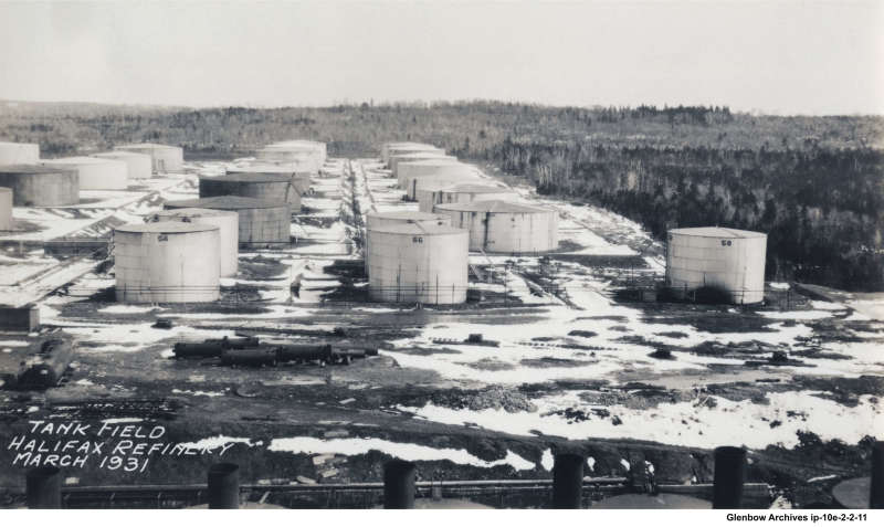 looking east, Dartmouth's Imperial Oil refinery tank field March 1931