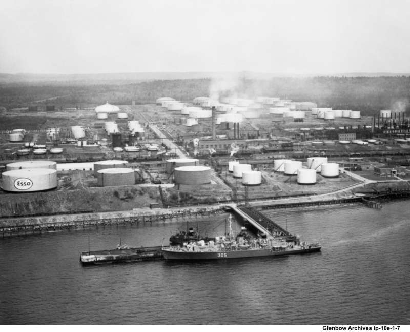 Aerial view of Imperial Oil's Dartmouth Refinery, looking east, 1940s. The main office  is outlined in purple.