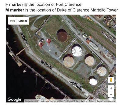 location of Fort Clarence and Duke of Clarence Martello Tower
