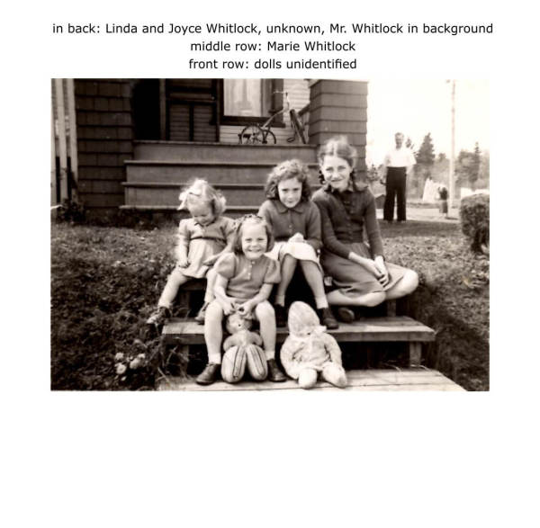 in back: Linda and Joyce Whitlock, unknown, Mr. Whitlock in background middle row: Marie Whitlock front row: dolls unidentified