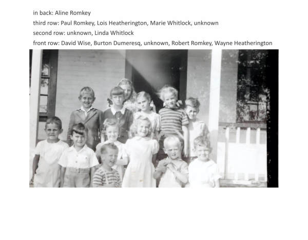 in back: Aline Romkey third row: Paul Romkey, Lois Heatherington, Marie Whitlock, unknown second row: unknown, Linda Whitlock front row: David Wise, Burton Dumeresq, unknown, Robert Romkey, Wayne Heatherington