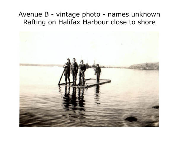 rafting on Halifax Harbour, vintage photo, date unknown