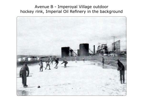 outdoor hockey rink, vintage photo, date unknown