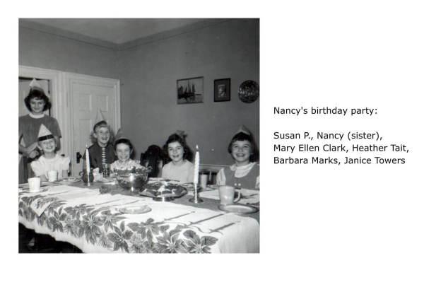 Nancy's birthday party: Susan P., Nancy (sister), Mary Ellen Clark, Heather Tait, Barbara Marks, Janice Towers