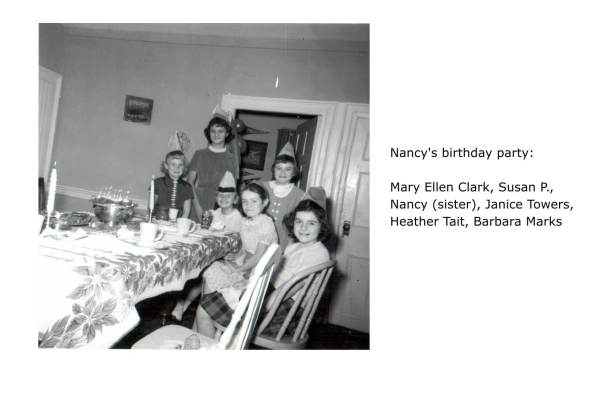 Nancy's birthday party: Mary Ellen Clark, Susan P., Nancy (sister), Janice Towers, Heather Tait, Barbara Marks