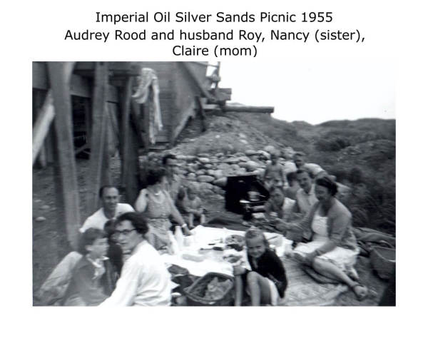 Imperial Oil Silver Sands Picnic 1955 Audrey Rood and her husband Roy, Nancy (sister), Claire (mom)