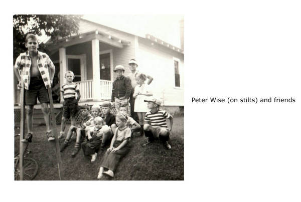 Peter Wise on stilts. Peter tragically drowned in a boating accident on Porters Lake when he was 17 years old.