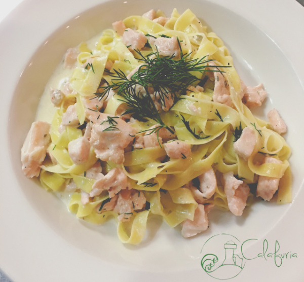 Tagliatelle with salmon and dill