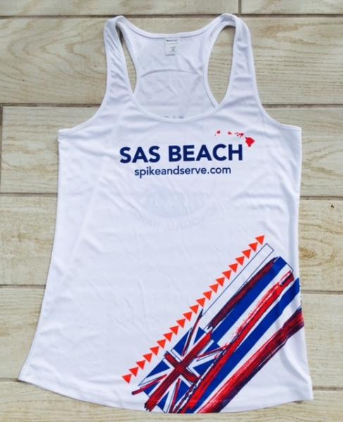 SAS Beach Tank in white color way.