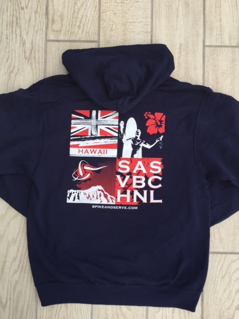 Back of Navy Color Way Hoodie/Sweatshirt
