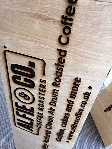 laser engraving, burnt wood effect sign glagsow