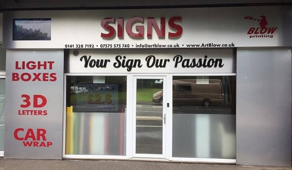 aluminum signs, glasgow shop fronts, 3D chanel letters, frosted windows, sign tray illuminated