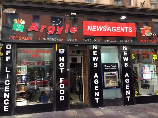 full shop fronts, glasgow illuminated signs, shop fronts glasgow