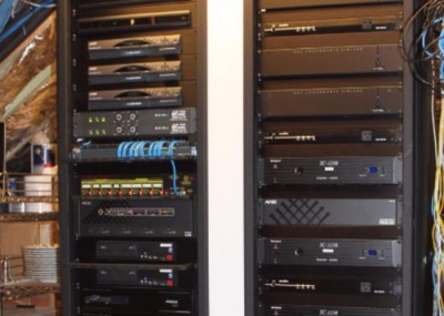Picture of audio & video distribution rack of equipment