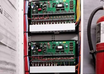 Picture of HAI security panel's internal wiring