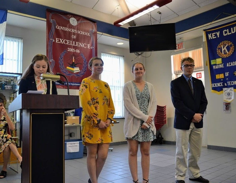 Our outgoing Key Club officers being retired