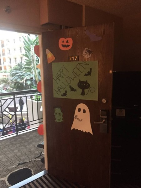 Door at Trick or Suite event decorated by MAST Key Club