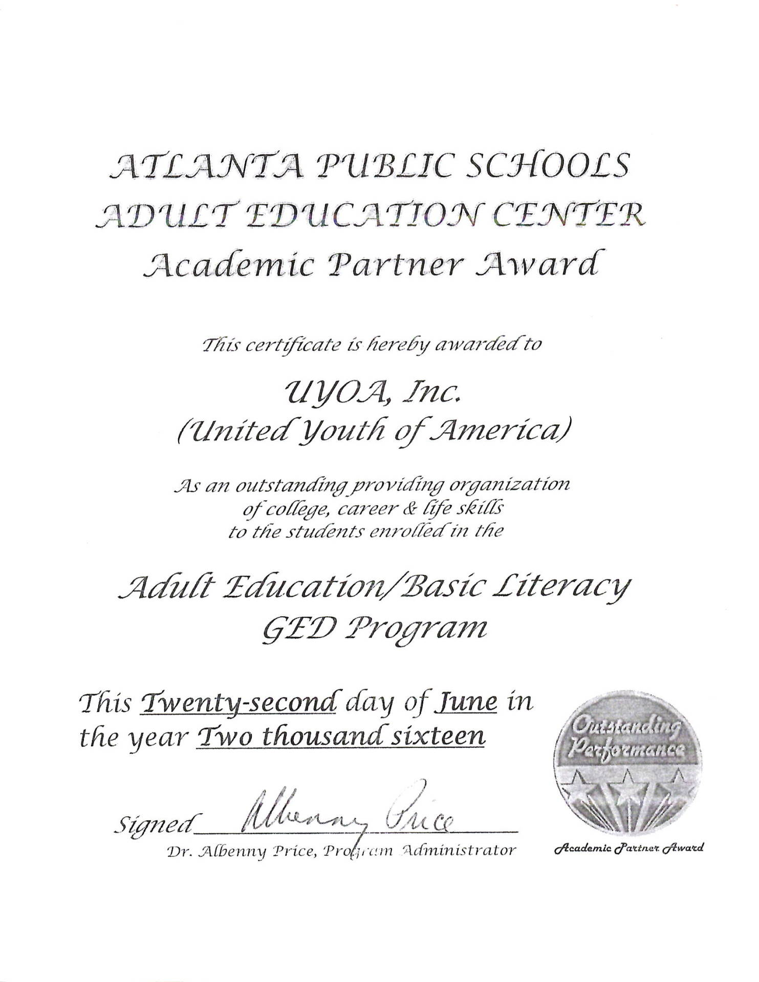 Academic Partner Award Atlanta Public Schools Adults Education