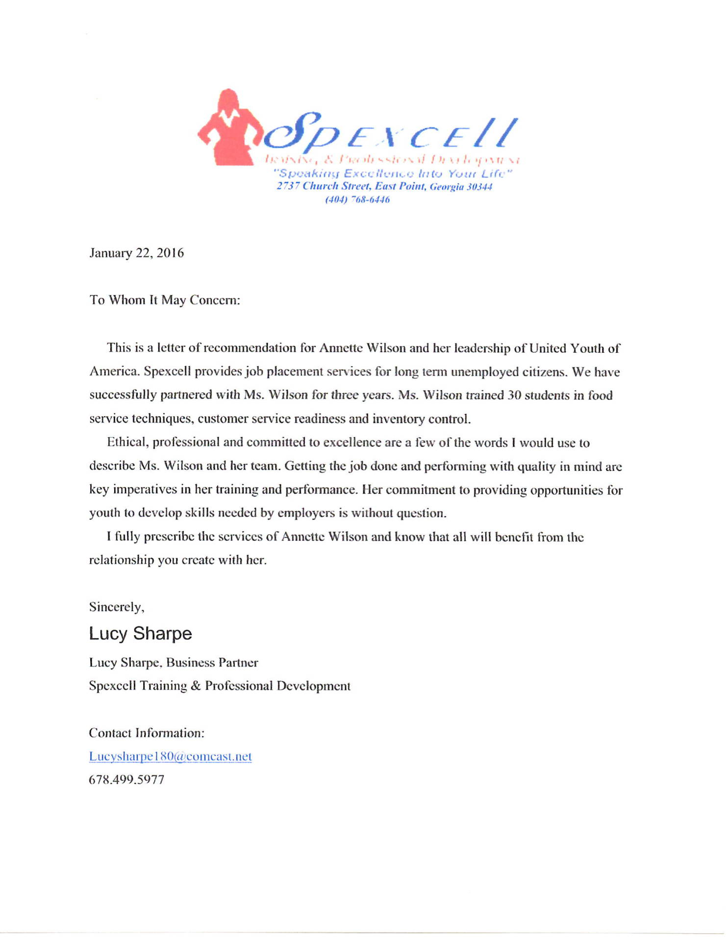 Recommandation Letter Spexcell NonProfit Organization