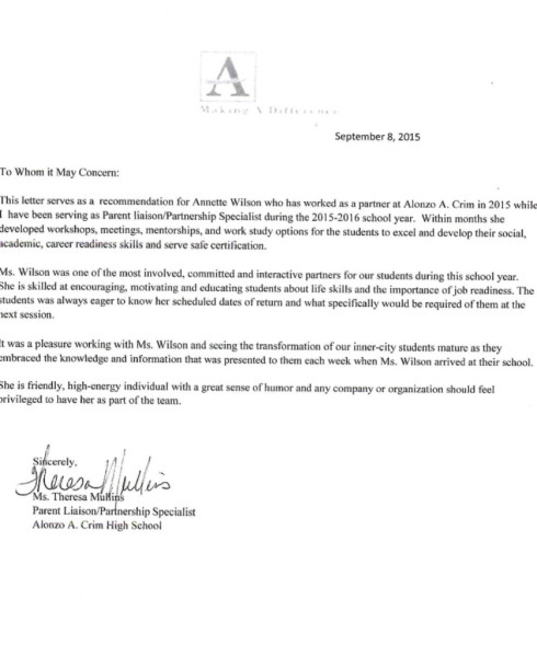 Recommandation Letter Atlanta Board of Education