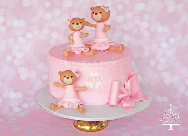 Girly teddy bear themed cake