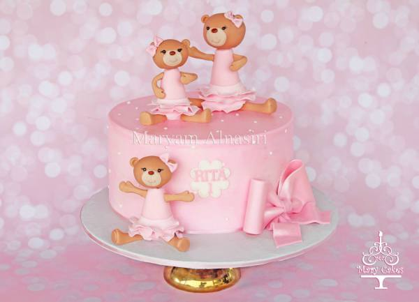 Girly teddy bear themed cake