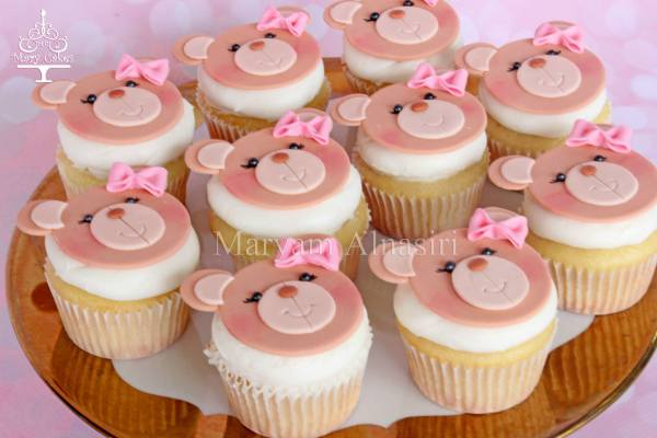 cute hand crafted teddy bear cupcake toppers to match the cake
