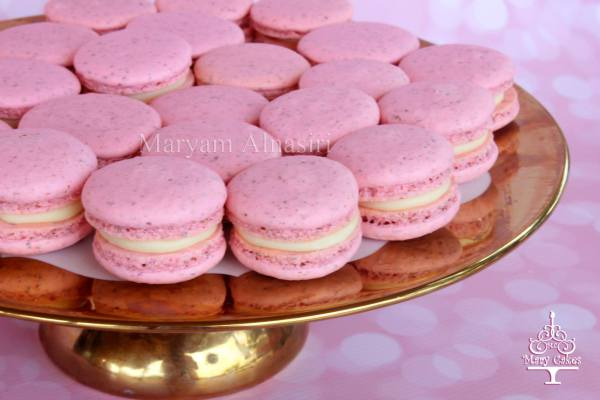 pink raspberry french macarons