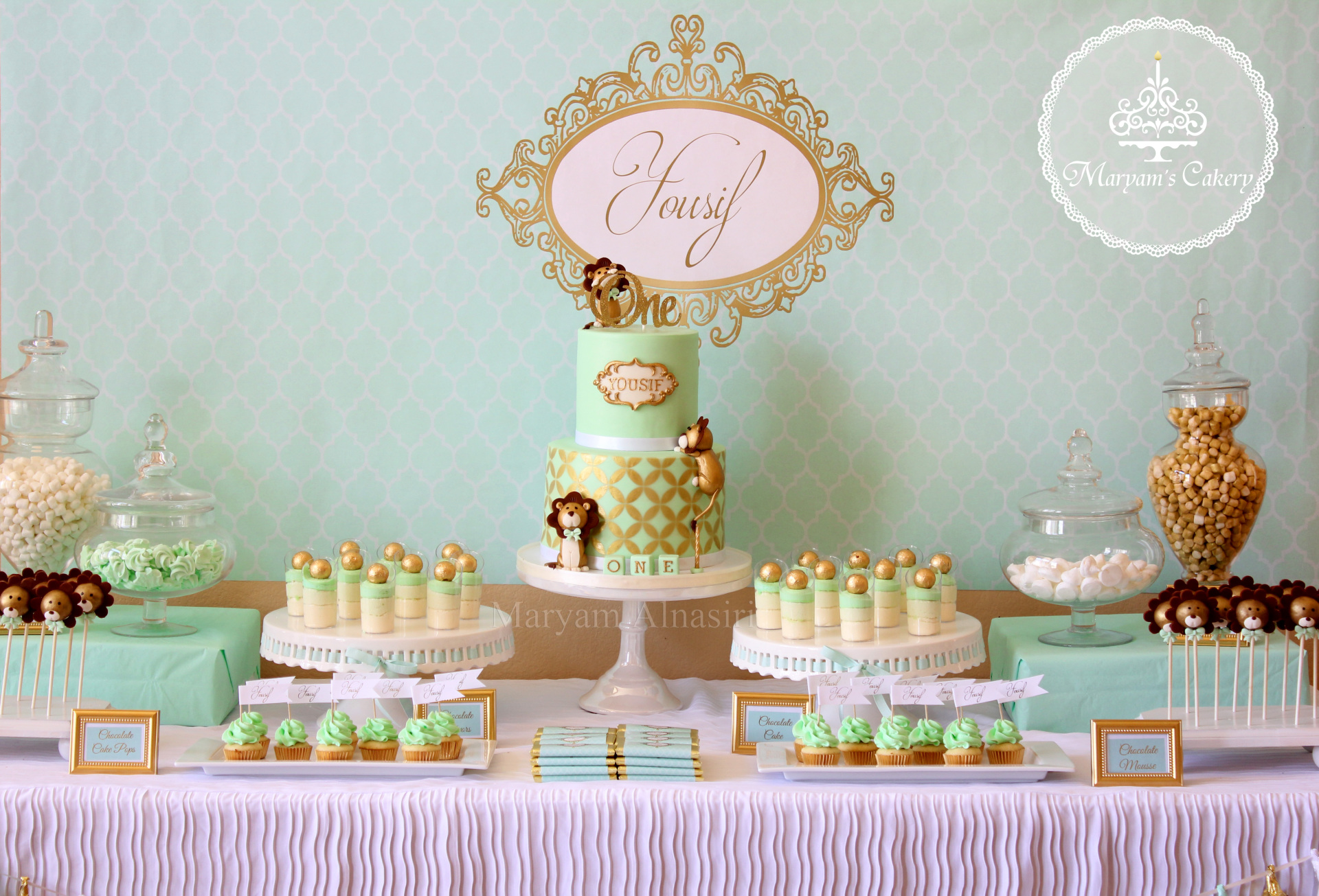 Mint green & Gold baby lion theme