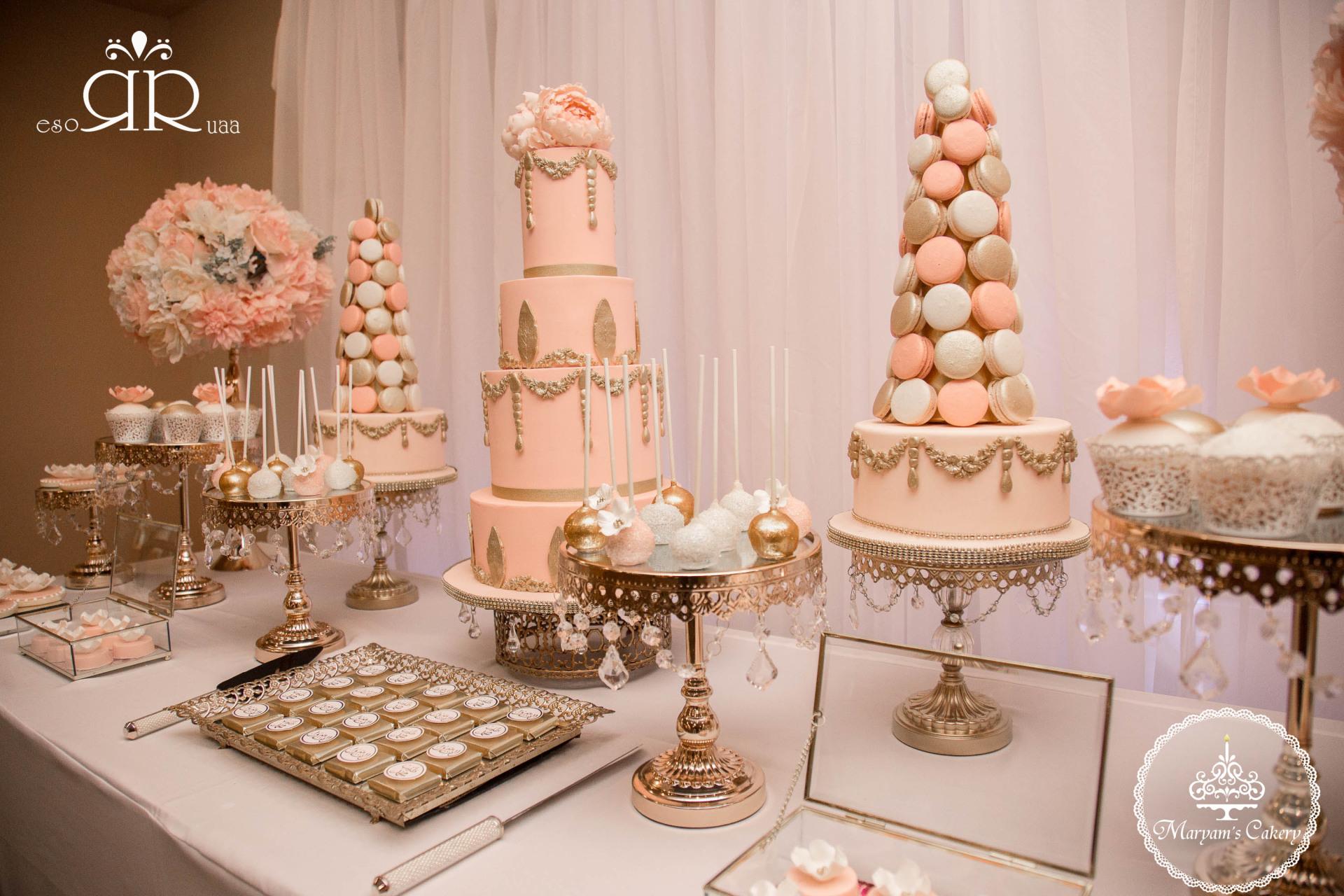 Blush pink & gold Fancy dessert table