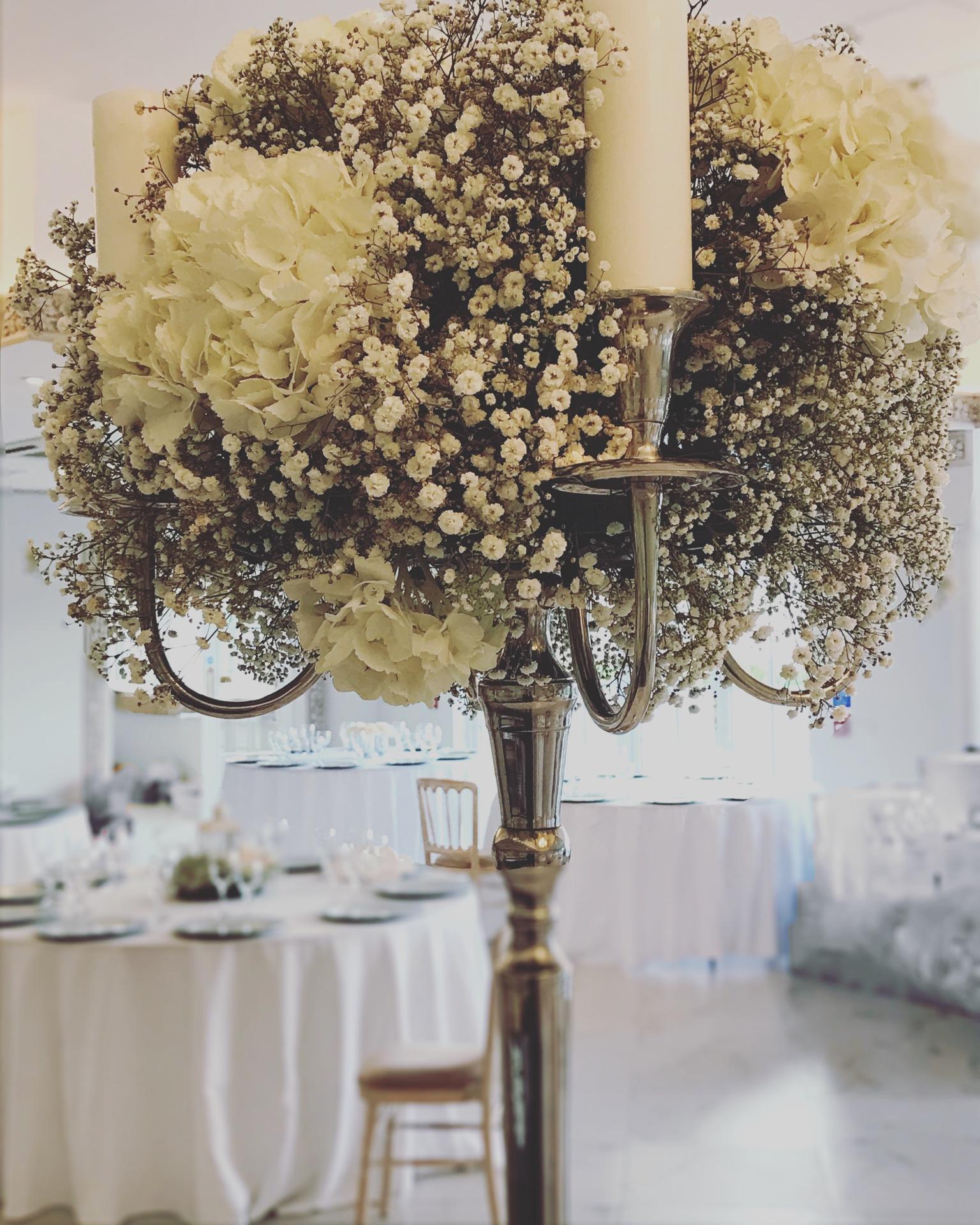 Wedding Flower Design Shilpa Reddy elegant London UK luxury | candelabra| baby's breath candelabra