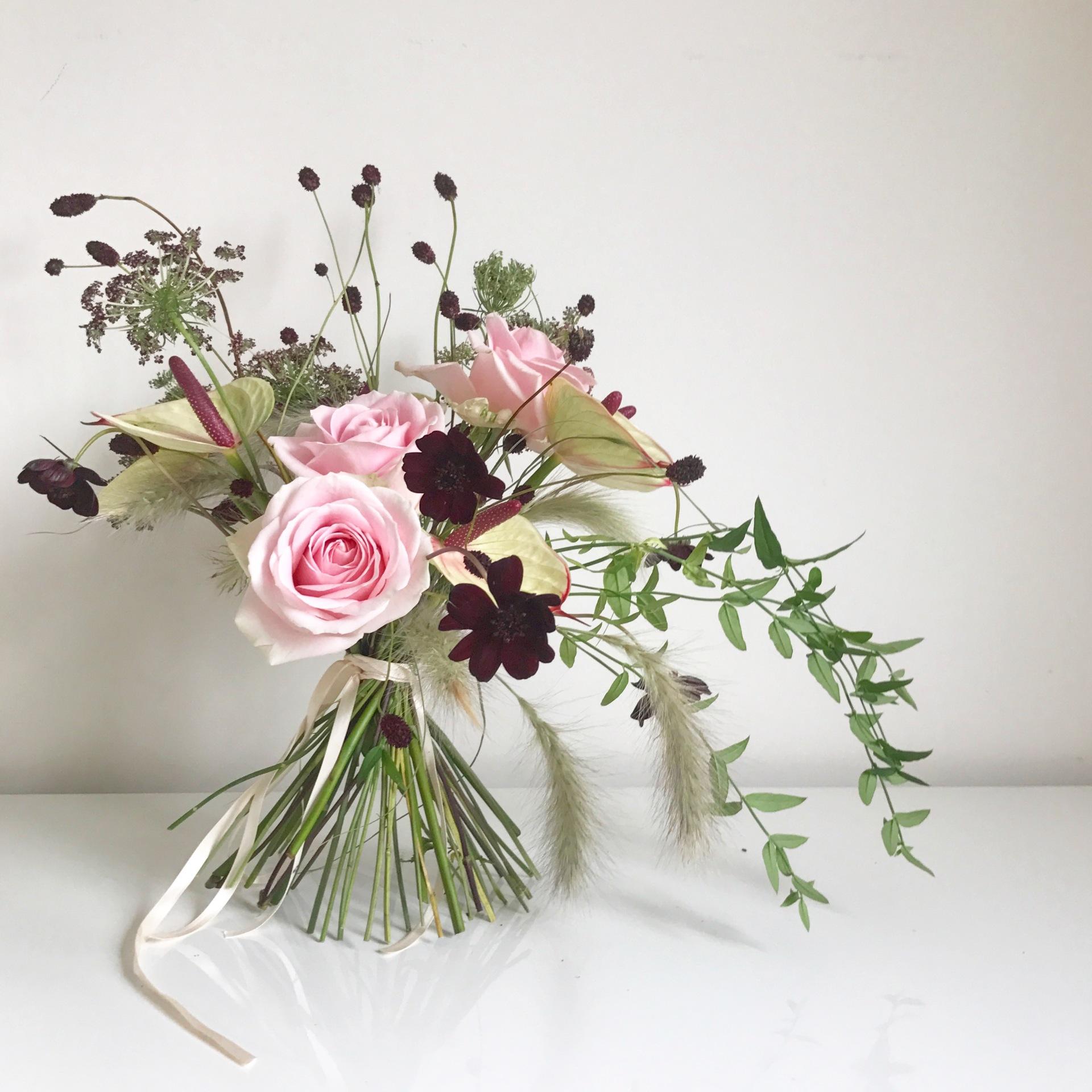 London florist | wedding bouquet | london wedding | chocolate cosmos bouquet | wedding florist london | natural florist | green florist | fun florist | beautiful flowers | posy | east London wedding | fusion wedding | urban wedding | floral artist
