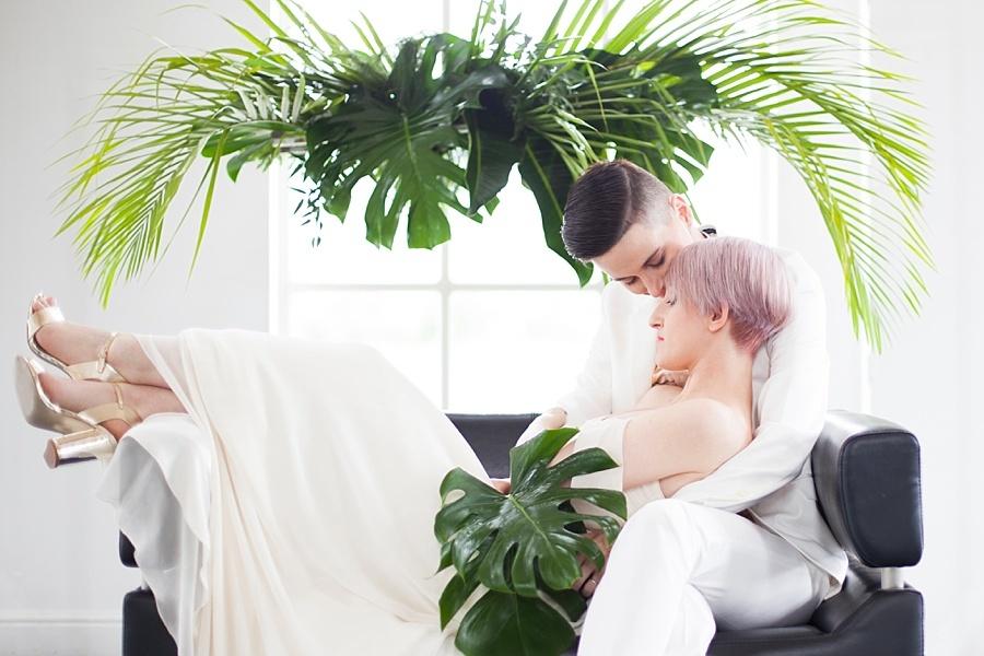 Palm Springs wedding | urban wedding | warehouse wedding | london florist | tropical wedding | luxury wedding | fashion wedding | chic wedding | stylish wedding | gay wedding | lesbian wedding