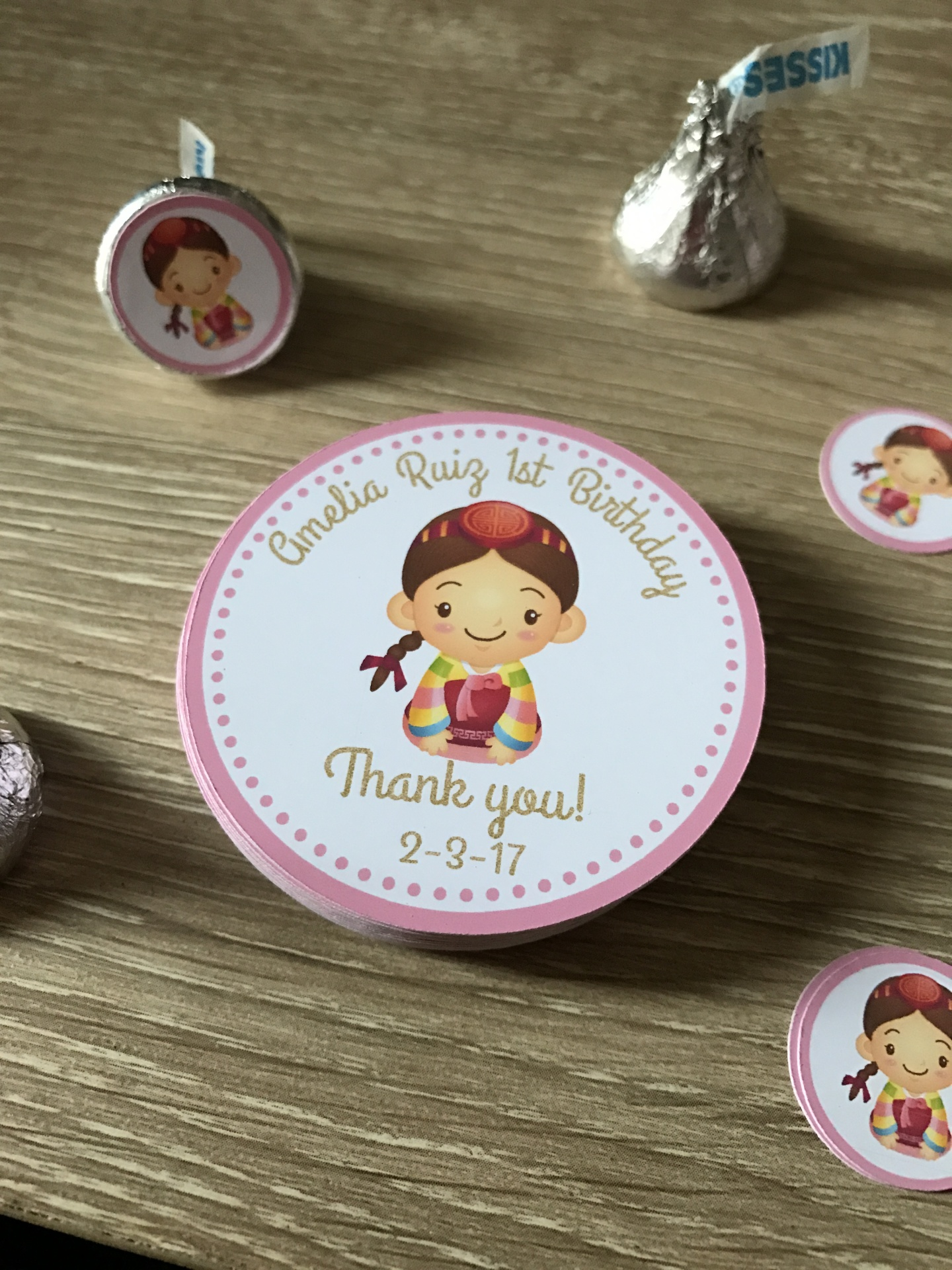Korean Doljabi Party Favor stickers, Favor tags and Mini Bubble wands
