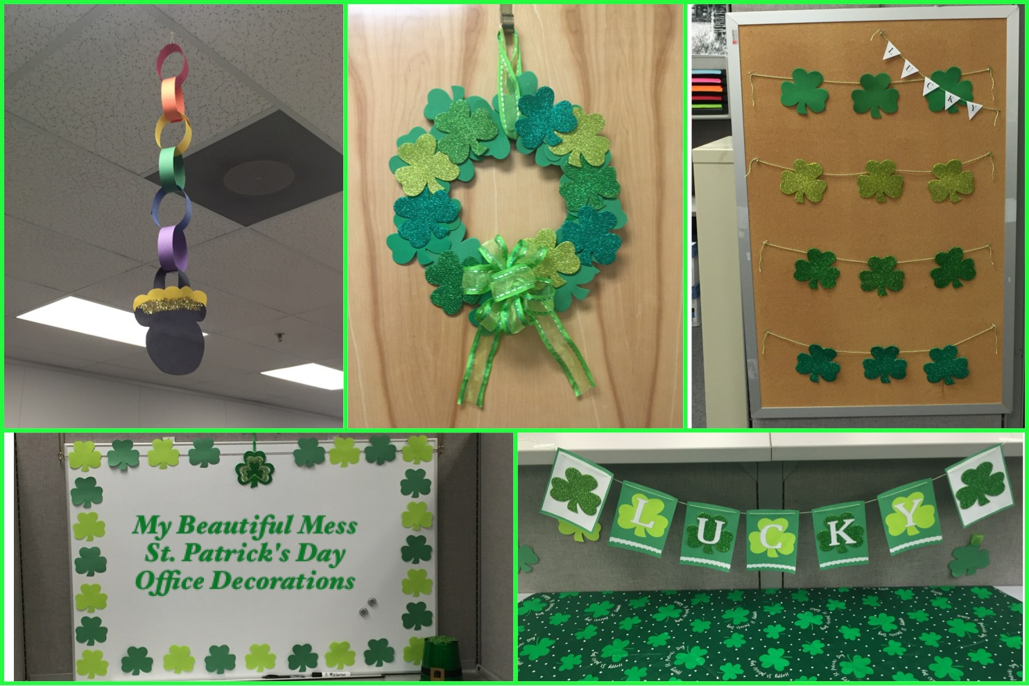 My Beautiful Mess - DIY St. Patrick's Day Office Decorations