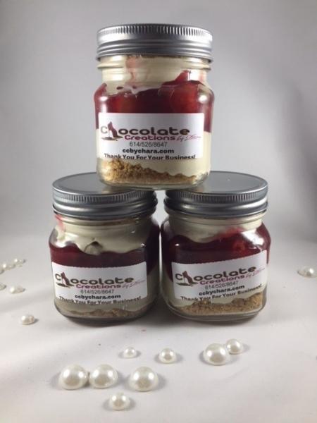 Cherry or Strawberry Chocolate Cheesecake Jars