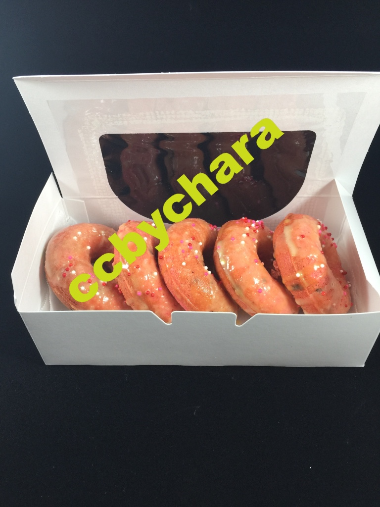 Strawberry Lemonade Donuts drizzled w/white chocolate