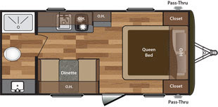 2016 Shadow Cruiser 195WBS Travel Trailer Floor Plan