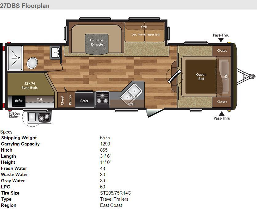 2017 KEYSTONE HIDEOUT 27DBS Floor Plan And Specs