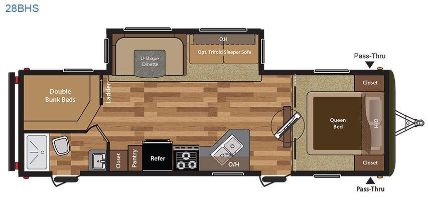 2017 Keystone Hideout 28BHS Floor Plan