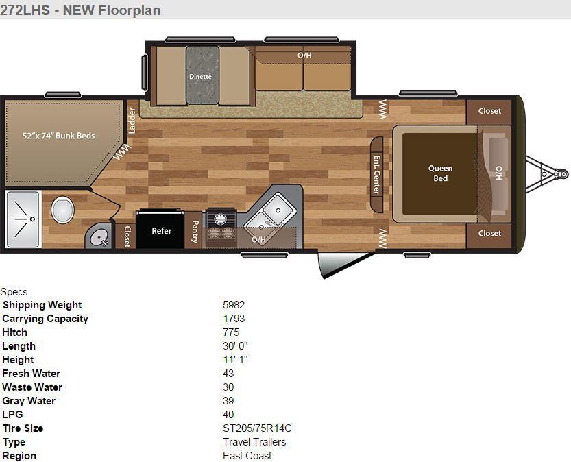 2016 Keystone Hideout 272LHS Floor Plan and Specs
