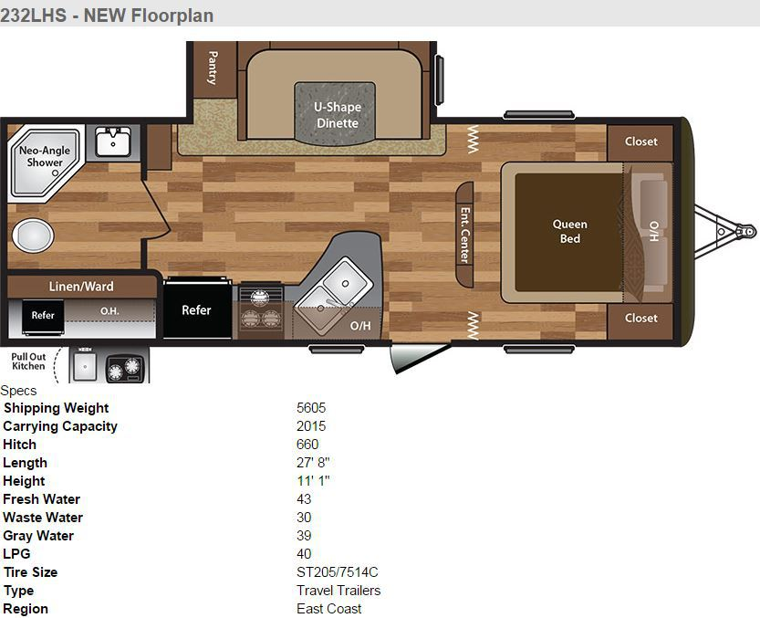 2016 Keystone Hideout 232LHS Floor Plan And Specs