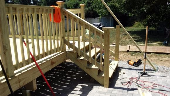 stone-patio & pressure treated deck built