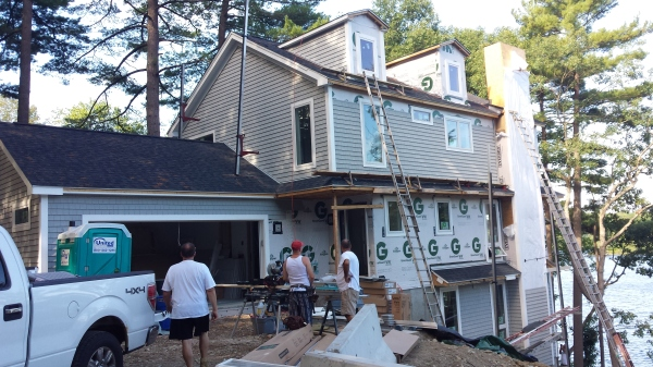 siding, roof overhang build, drywall