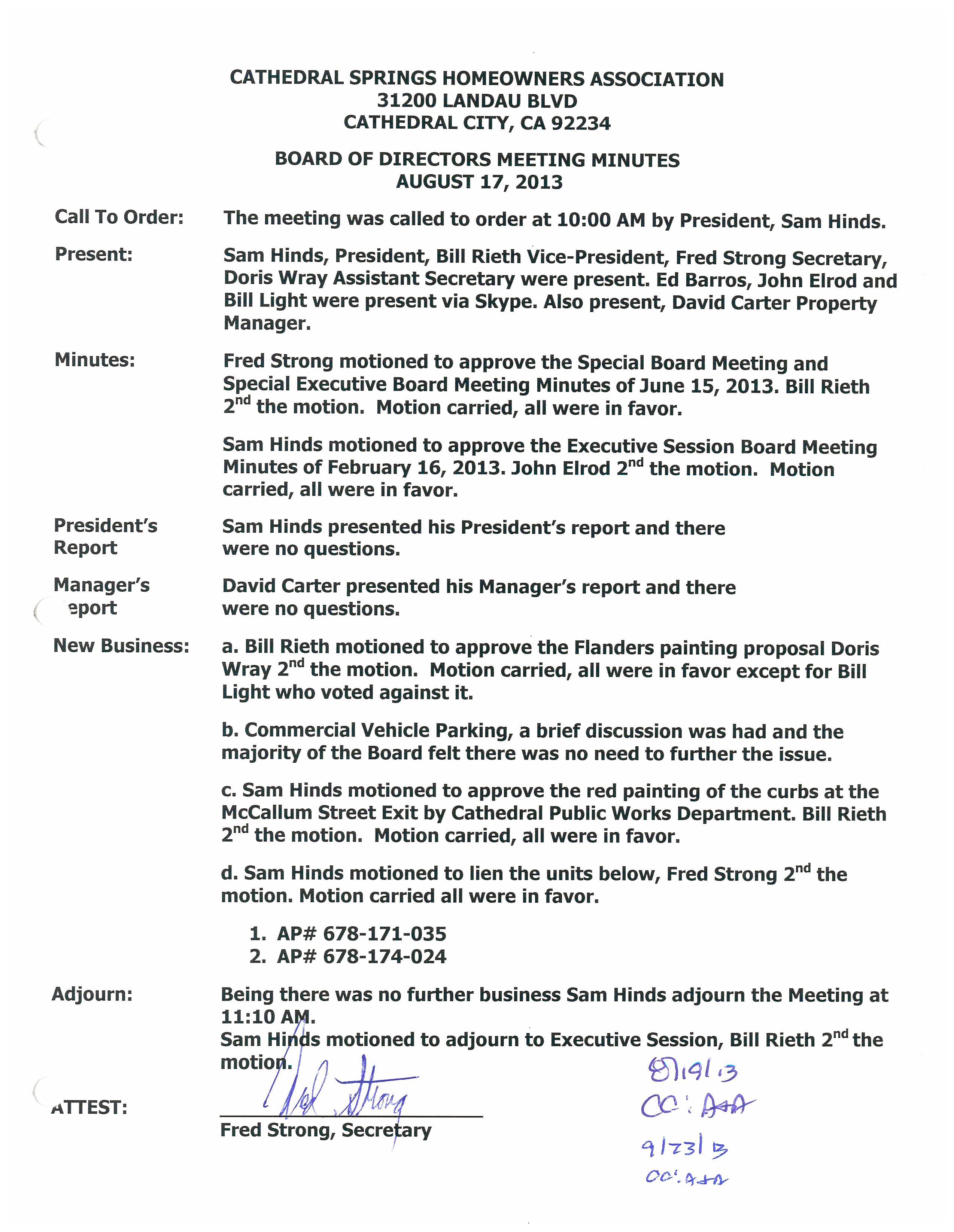 Hoa board of directors meeting minutes