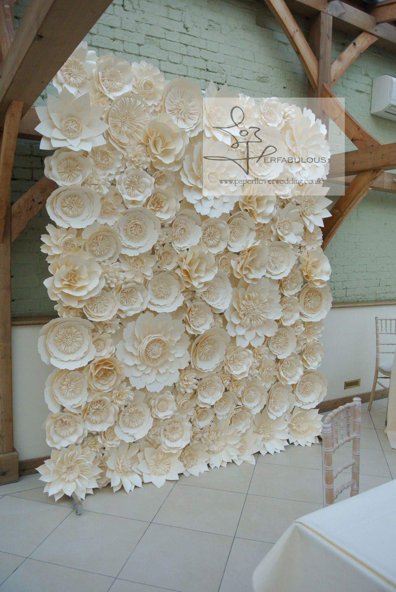 paper flowers backdrop hire, wedding backdrop, london wedding backdrop hire