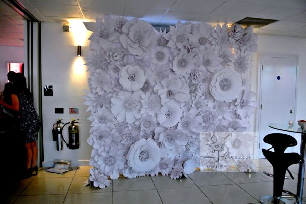 backdrop for hire, paper flowers backdrop, london backdrop hire