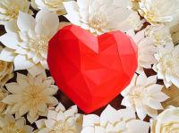 geometric heart, paper heart 3d paper heart, perfabulous, paper floral artistry, paper flowers