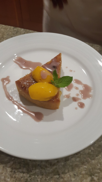 Corn Meal Pudding (garnished with Mango Sorbet)