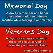 Yes, there's a difference between Memorial Day and Veterans Day